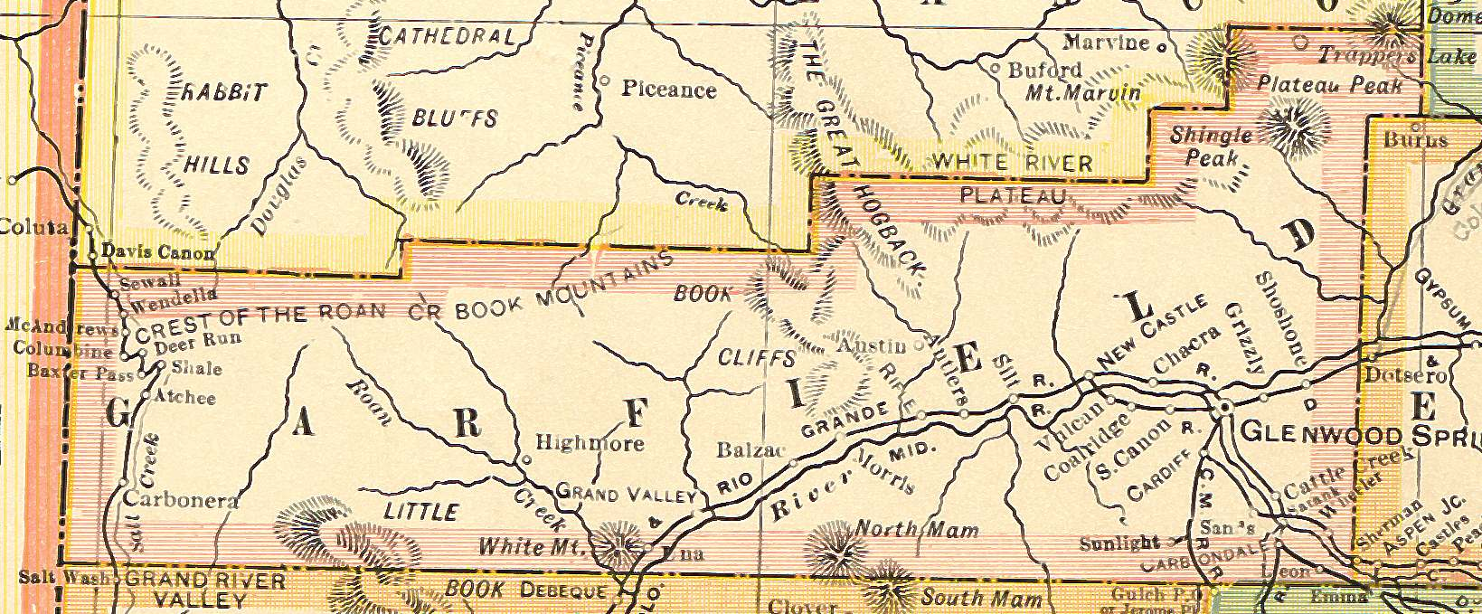 Garfield County map from the 1922 Standard Atlas of Yuma County