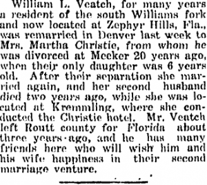 William L. Veatch - Announcement of Second Marriage - 13 Sept 1918, Routt County Sentinel