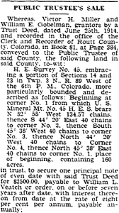 William L. Veatch - Securitor on Trust Deed sells property in a public trustee's sale - 29 Aug 1930, Steamboat Pilot
