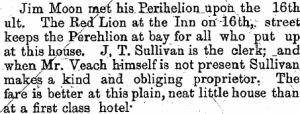 Advertisement of the Red Lion Inn in Denver - 1 Jul 1881, Colorado Antelope
