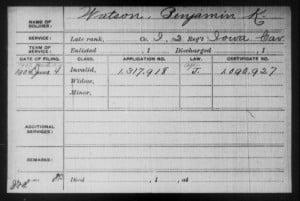 Benjamin K. Watson Civil War Pension Card