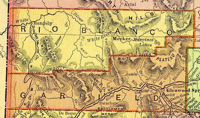 Garfield County Map, originally published in 1885 by George F Cram